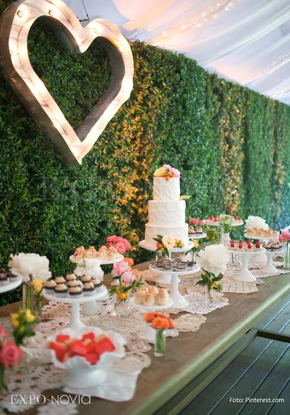 Estilos en decoraci n para tu mesa de postres exponovia - Decorar mesas de jardin ...